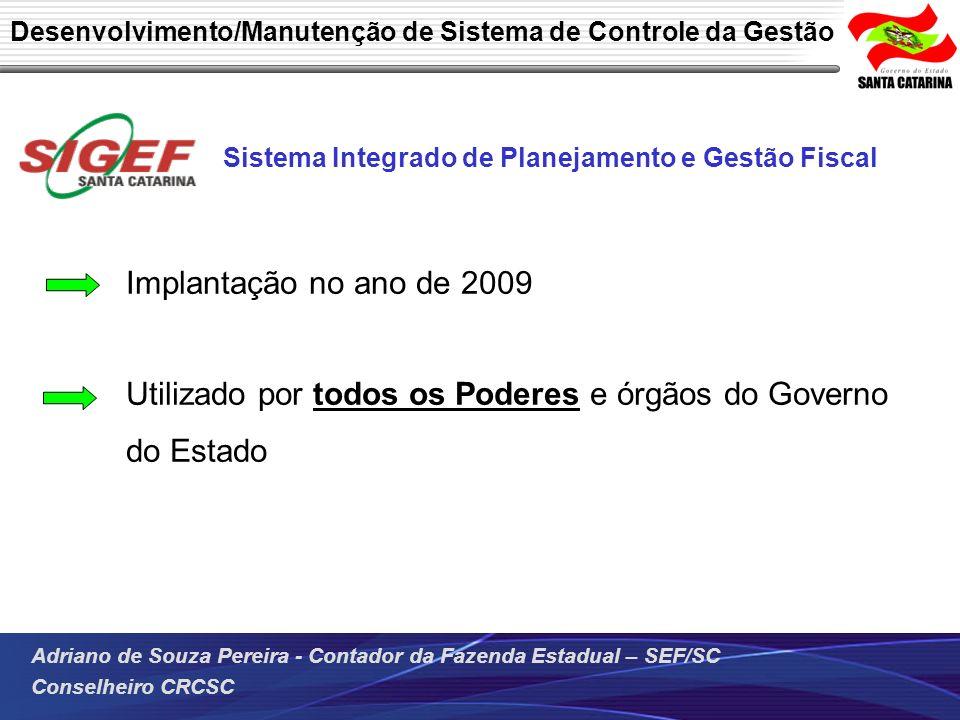 Adriano de Souza Pereira - Contador da Fazenda Estadual – SEF/SC Conselheiro CRCSC Desenvolvimento/Manutenção de Sistema de Controle da Gestão Sistema