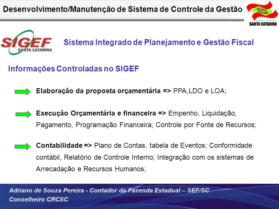 Adriano de Souza Pereira - Contador da Fazenda Estadual – SEF/SC Conselheiro CRCSC Sistema Integrado de Planejamento e Gestão Fiscal Informações Contr