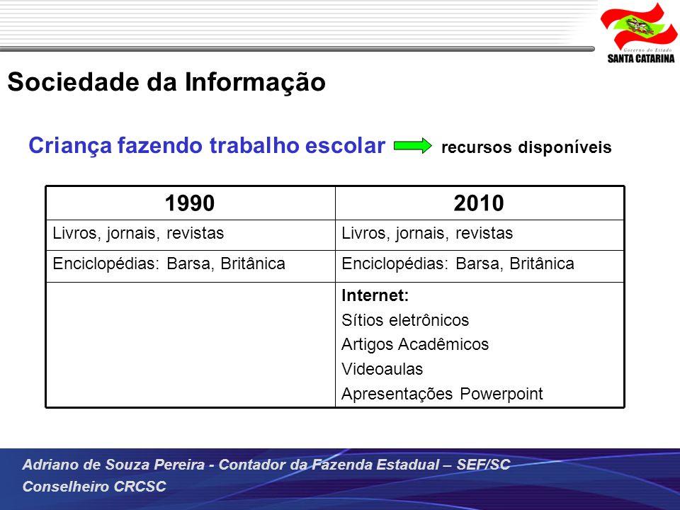 Adriano de Souza Pereira - Contador da Fazenda Estadual – SEF/SC Conselheiro CRCSC Criança fazendo trabalho escolar recursos disponíveis Sociedade da