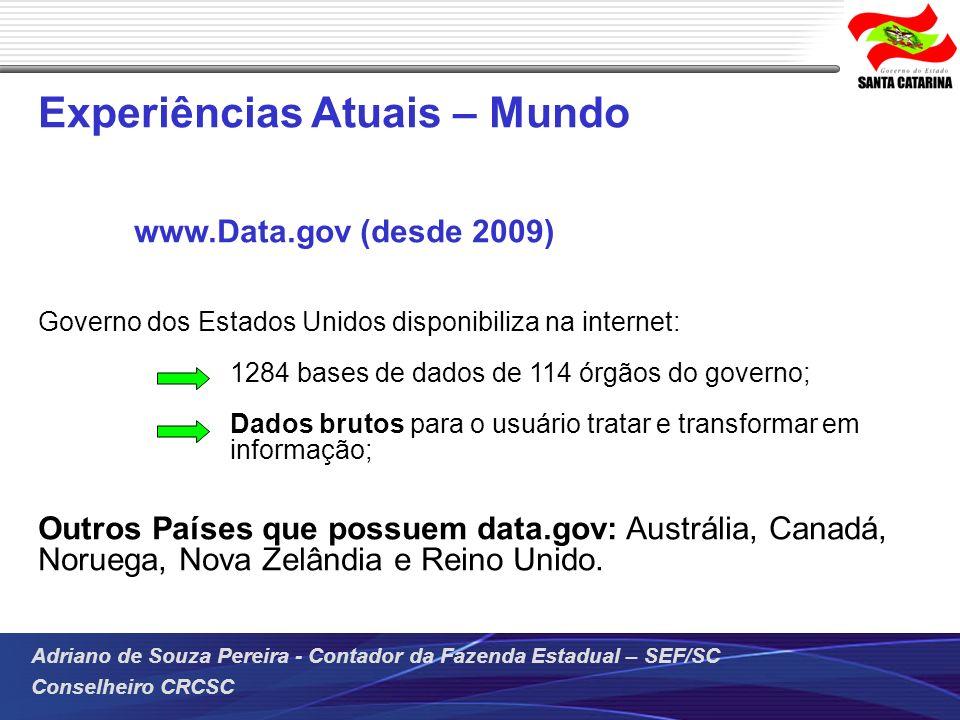 Adriano de Souza Pereira - Contador da Fazenda Estadual – SEF/SC Conselheiro CRCSC Experiências Atuais – Mundo www.Data.gov (desde 2009) Governo dos E