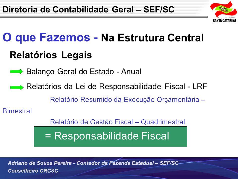 Adriano de Souza Pereira - Contador da Fazenda Estadual – SEF/SC Conselheiro CRCSC O que Fazemos - Na Estrutura Central Relatórios Legais Balanço Gera