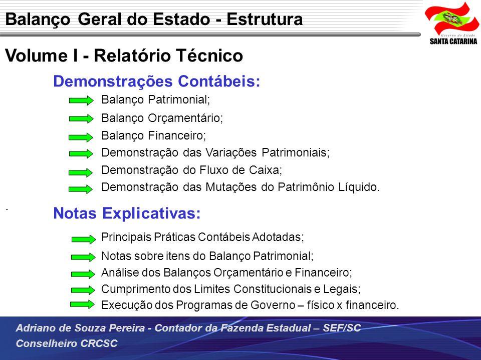 Adriano de Souza Pereira - Contador da Fazenda Estadual – SEF/SC Conselheiro CRCSC Volume I - Relatório Técnico Demonstrações Contábeis: Notas Explica