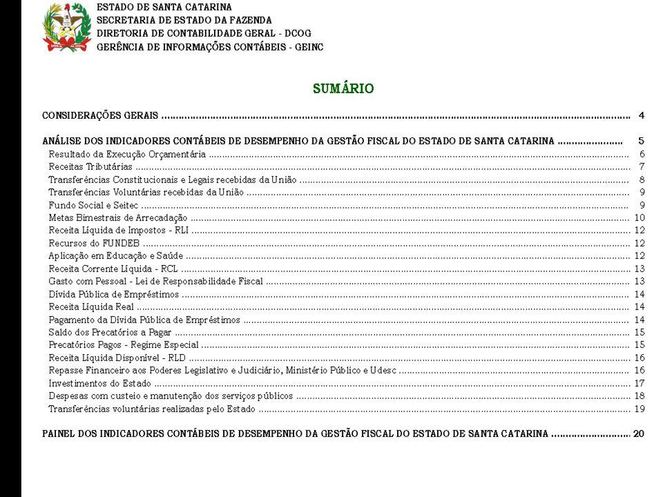 Adriano de Souza Pereira - Contador da Fazenda Estadual – SEF/SC Conselheiro CRCSC Indicadores - telas Transparência na Gestão – Estado de Santa Catar