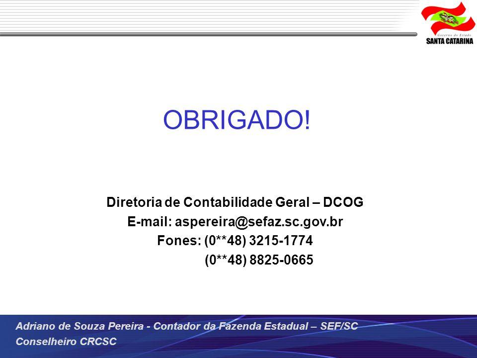 Adriano de Souza Pereira - Contador da Fazenda Estadual – SEF/SC Conselheiro CRCSC OBRIGADO! Diretoria de Contabilidade Geral – DCOG E-mail: aspereira