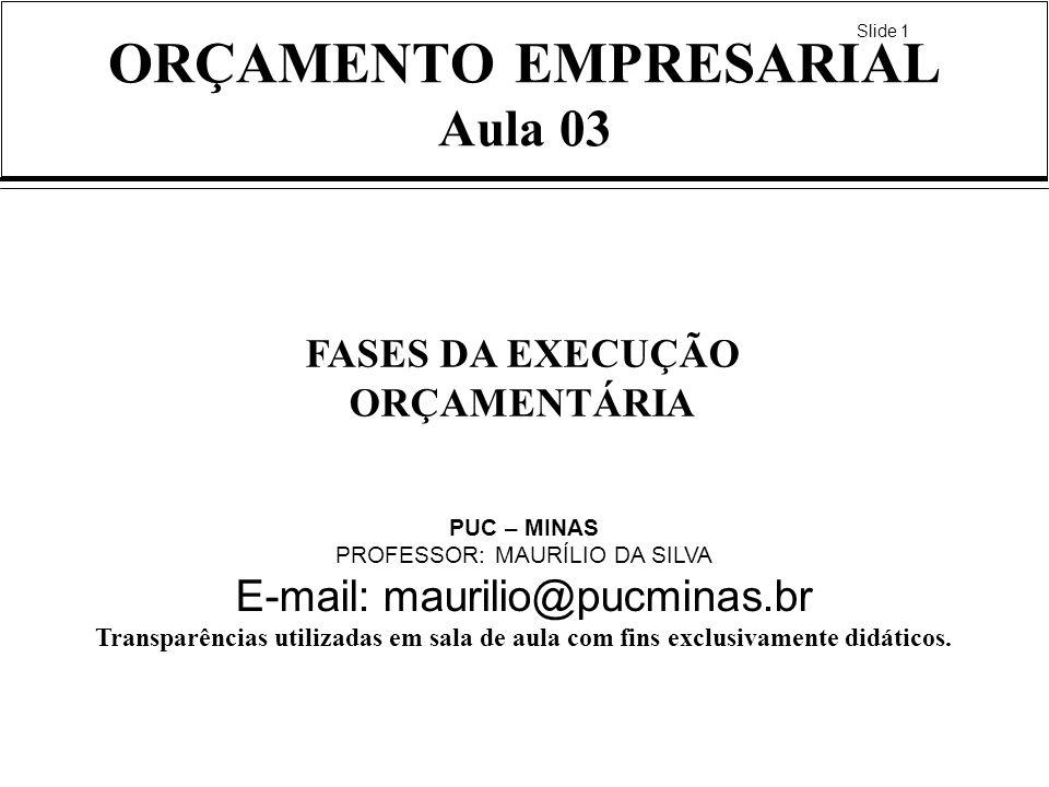 Slide 1 ORÇAMENTO EMPRESARIAL Aula 03 FASES DA EXECUÇÃO ORÇAMENTÁRIA PUC – MINAS PROFESSOR: MAURÍLIO DA SILVA E-mail: maurilio@pucminas.br Transparênc