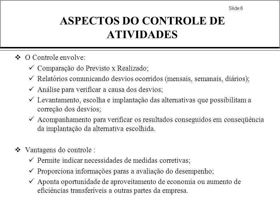 Slide 6 ASPECTOS DO CONTROLE DE ATIVIDADES O Controle envolve: Comparação do Previsto x Realizado; Relatórios comunicando desvios ocorridos (mensais,