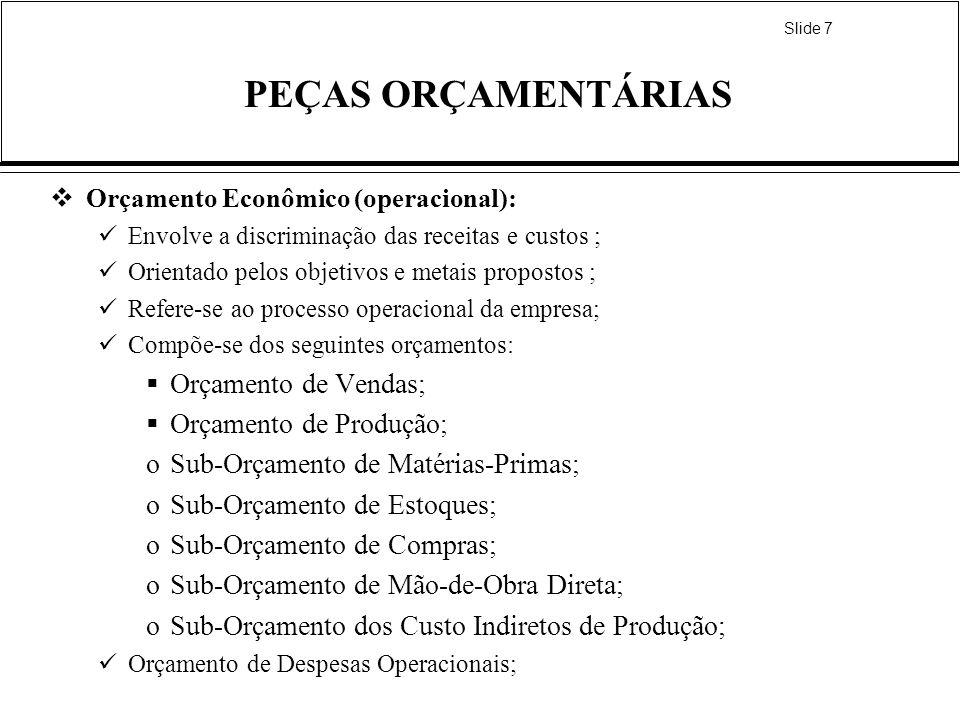 Slide 7 PEÇAS ORÇAMENTÁRIAS Orçamento Econômico (operacional): Envolve a discriminação das receitas e custos ; Orientado pelos objetivos e metais prop