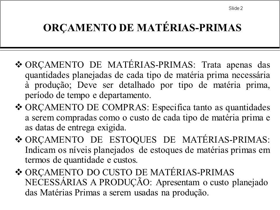 Slide 2 ORÇAMENTO DE MATÉRIAS-PRIMAS ORÇAMENTO DE MATÉRIAS-PRIMAS: Trata apenas das quantidades planejadas de cada tipo de matéria prima necessária à produção; Deve ser detalhado por tipo de matéria prima, período de tempo e departamento.