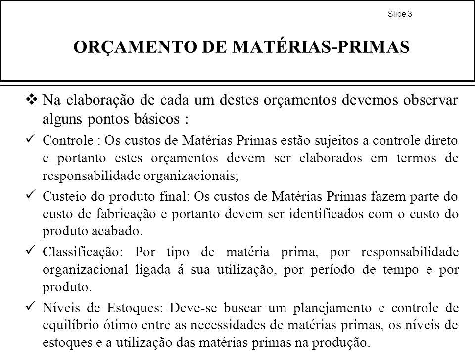 Slide 3 ORÇAMENTO DE MATÉRIAS-PRIMAS Na elaboração de cada um destes orçamentos devemos observar alguns pontos básicos : Controle : Os custos de Matér