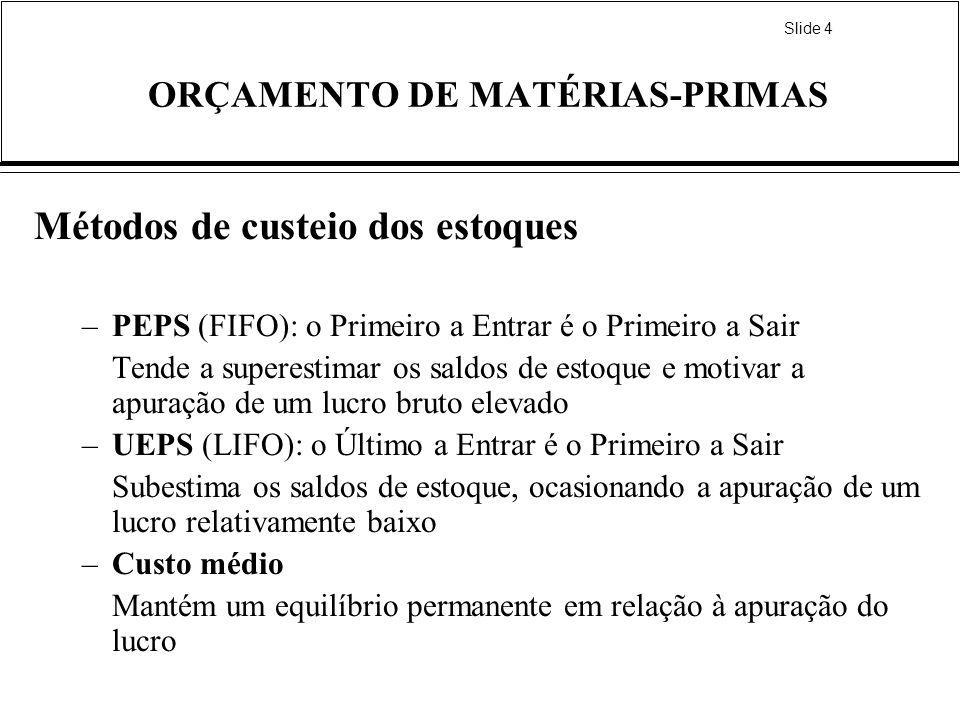 Slide 4 ORÇAMENTO DE MATÉRIAS-PRIMAS Métodos de custeio dos estoques –PEPS (FIFO): o Primeiro a Entrar é o Primeiro a Sair Tende a superestimar os sal