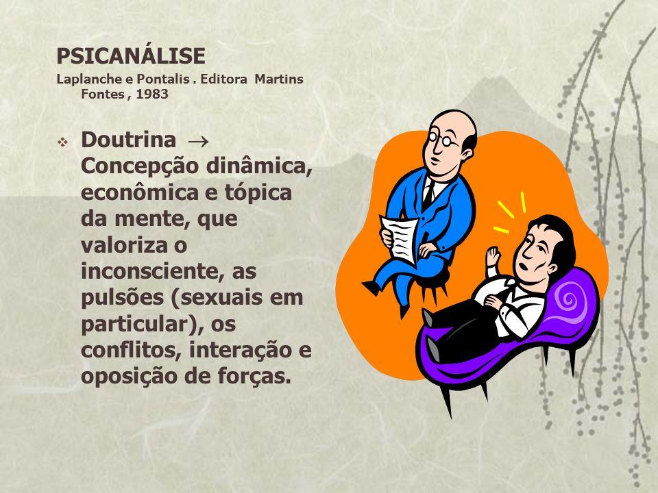 PSICANÁLISE Laplanche e Pontalis. Editora Martins Fontes, 1983 Doutrina Concepção dinâmica, econômica e tópica da mente, que valoriza o inconsciente,