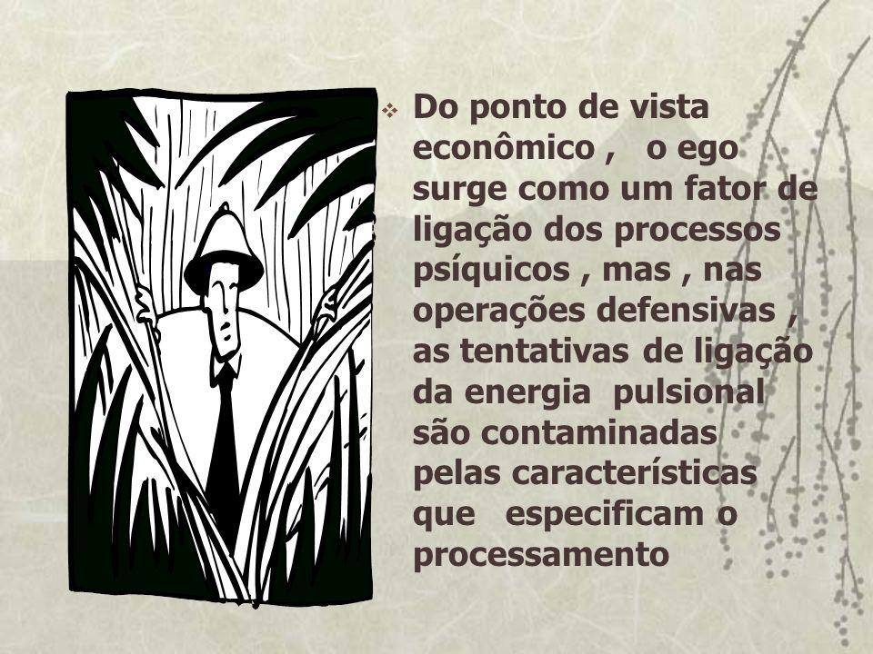Do ponto de vista econômico, o ego surge como um fator de ligação dos processos psíquicos, mas, nas operações defensivas, as tentativas de ligação da