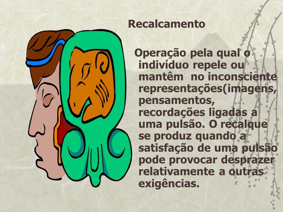 Recalcamento Operação pela qual o indivíduo repele ou mantêm no inconsciente representações(imagens, pensamentos, recordações ligadas a uma pulsão. O