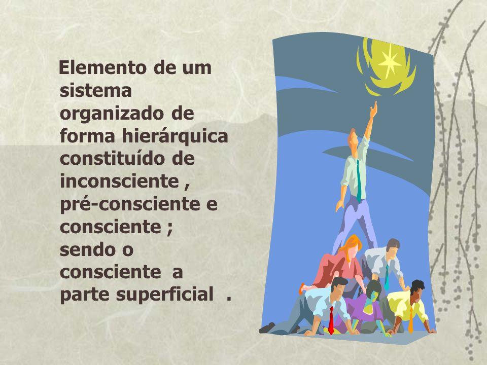 Elemento de um sistema organizado de forma hierárquica constituído de inconsciente, pré-consciente e consciente ; sendo o consciente a parte superfici