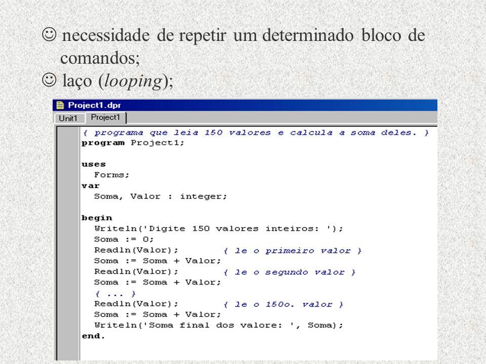 necessidade de repetir um determinado bloco de comandos; laço (looping);