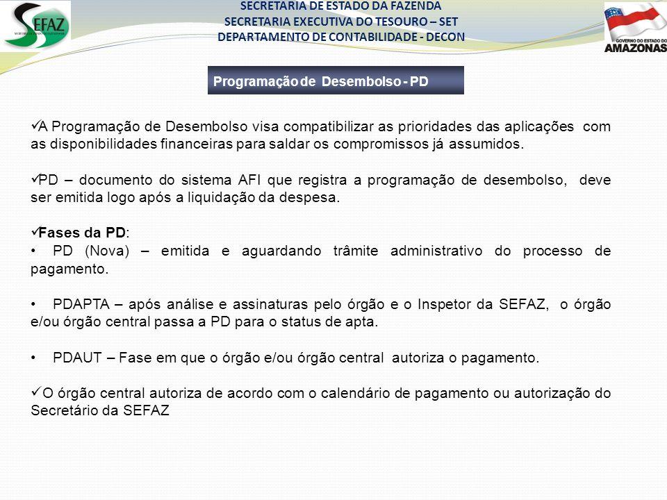 SECRETARIA DE ESTADO DA FAZENDA SECRETARIA EXECUTIVA DO TESOURO – SET DEPARTAMENTO DE CONTABILIDADE - DECON Programação de Desembolso - PD A Programaç
