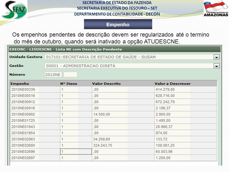 SECRETARIA DE ESTADO DA FAZENDA SECRETARIA EXECUTIVA DO TESOURO – SET DEPARTAMENTO DE CONTABILIDADE - DE CON Empenho Os empenhos pendentes de descriçã
