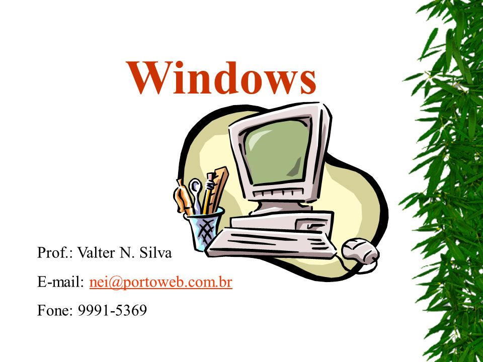 Windows Prof.: Valter N. Silva E-mail: nei@portoweb.com.brnei@portoweb.com.br Fone: 9991-5369