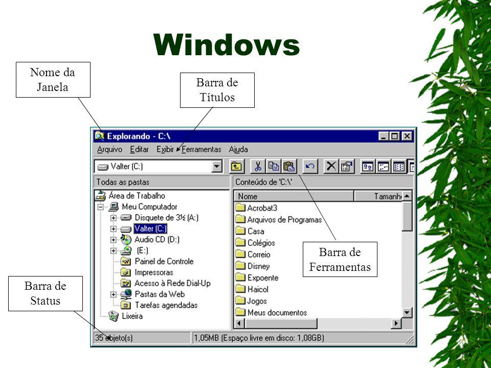 Windows Nome da Janela Barra de Status Barra de Títulos Barra de Ferramentas