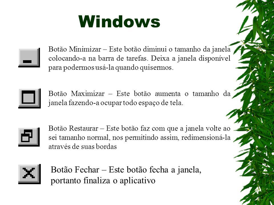 Windows Botão Minimizar – Este botão diminui o tamanho da janela colocando-a na barra de tarefas. Deixa a janela disponível para podermos usá-la quand