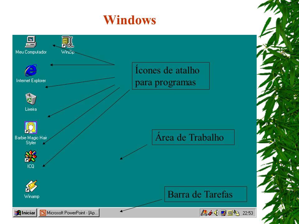 Ícones de atalho para programas Área de Trabalho Barra de Tarefas Windows