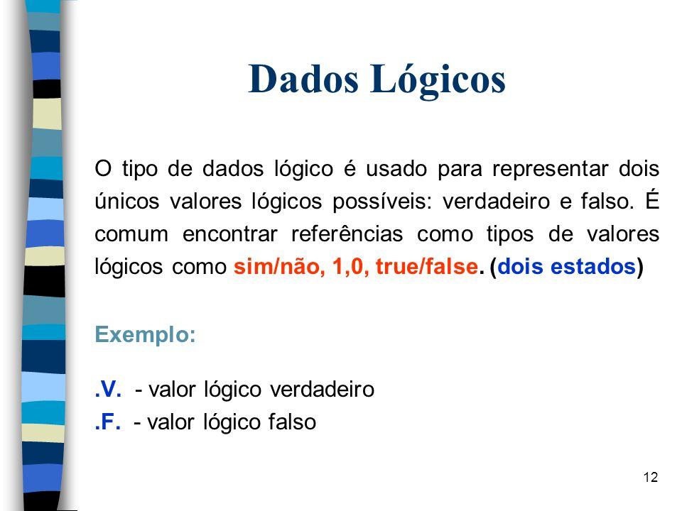 12 Dados Lógicos O tipo de dados lógico é usado para representar dois únicos valores lógicos possíveis: verdadeiro e falso. É comum encontrar referênc