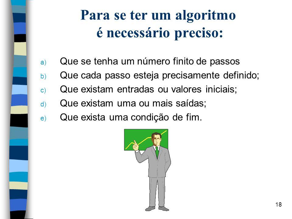 18 Para se ter um algoritmo é necessário preciso: a) Que se tenha um número finito de passos b) Que cada passo esteja precisamente definido; c) Que ex