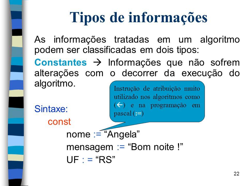 22 Tipos de informações As informações tratadas em um algoritmo podem ser classificadas em dois tipos: Constantes Informações que não sofrem alteraçõe