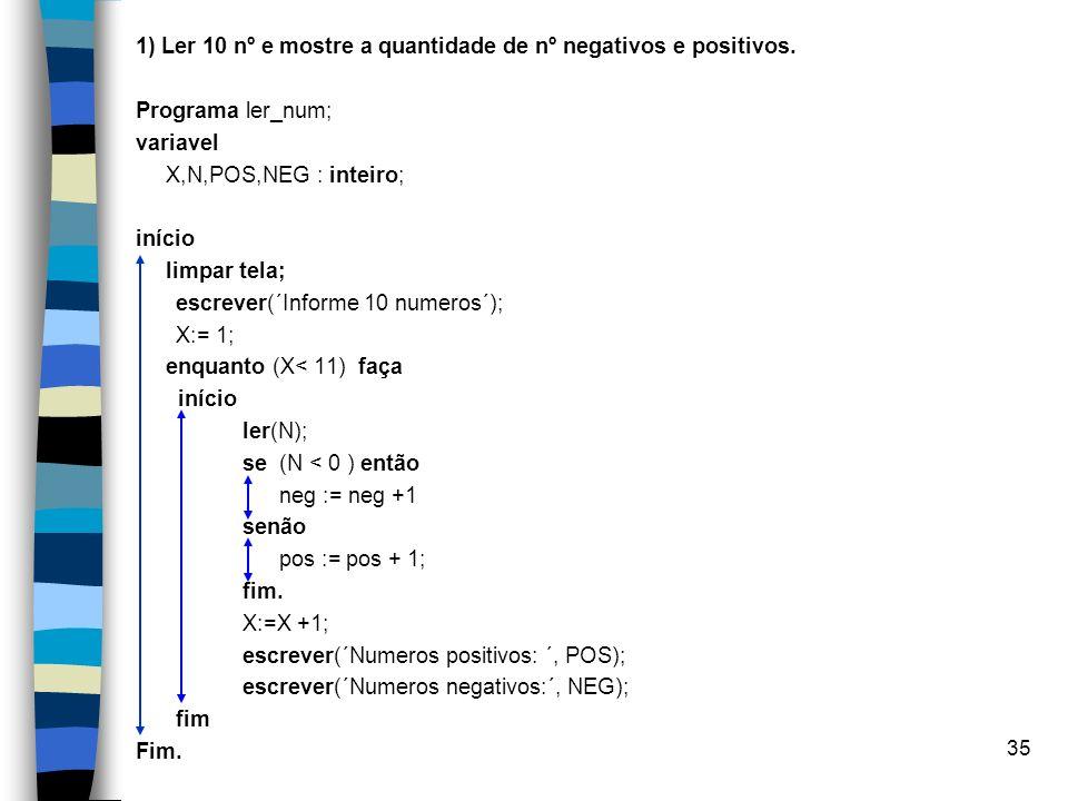 35 1) Ler 10 nº e mostre a quantidade de nº negativos e positivos. Programa ler_num; variavel X,N,POS,NEG : inteiro; início limpar tela; escrever(´Inf