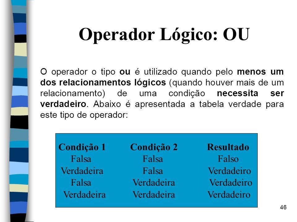 46 Operador Lógico: OU O operador o tipo ou é utilizado quando pelo menos um dos relacionamentos lógicos (quando houver mais de um relacionamento) de