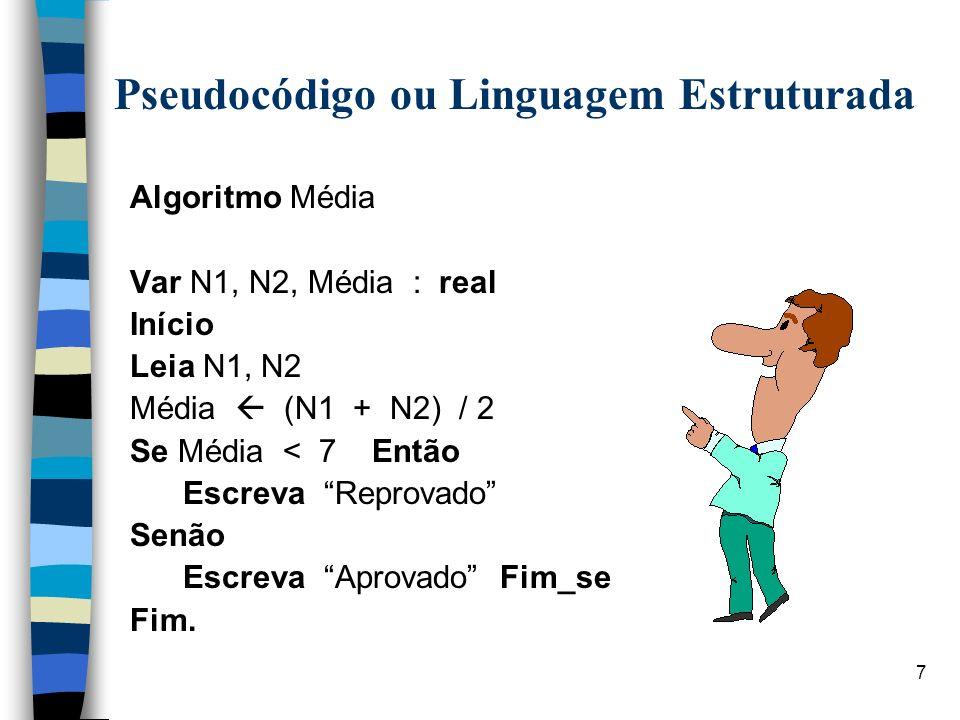 7 Pseudocódigo ou Linguagem Estruturada Algoritmo Média Var N1, N2, Média : real Início Leia N1, N2 Média (N1 + N2) / 2 Se Média < 7 Então Escreva Rep