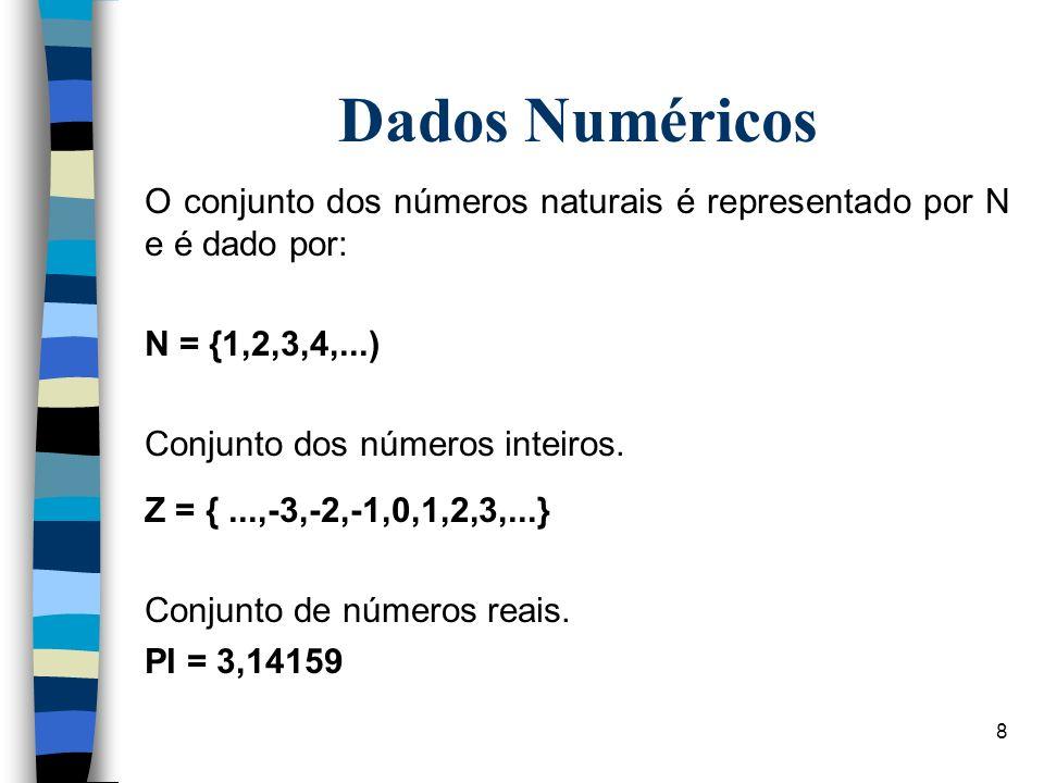 8 Dados Numéricos O conjunto dos números naturais é representado por N e é dado por: N = {1,2,3,4,...) Conjunto dos números inteiros. Z = {...,-3,-2,-