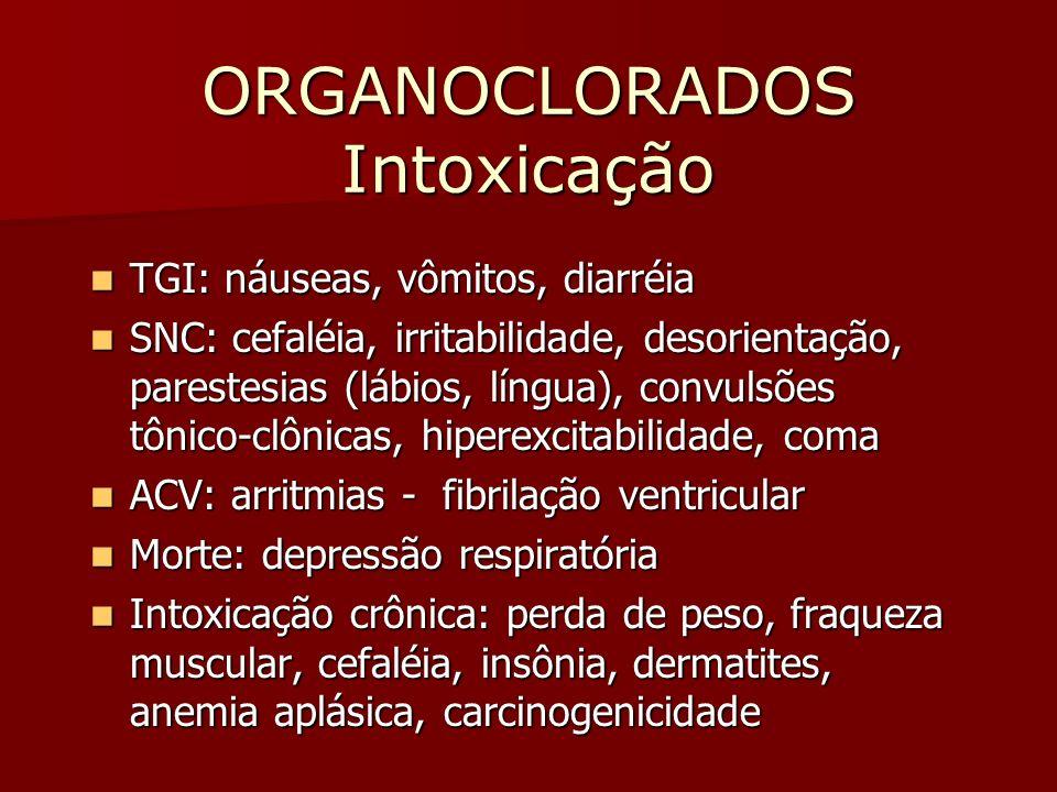 ORGANOCLORADOS Intoxicação TGI: náuseas, vômitos, diarréia TGI: náuseas, vômitos, diarréia SNC: cefaléia, irritabilidade, desorientação, parestesias (