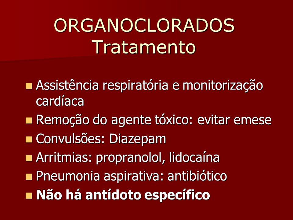 ORGANOCLORADOS Tratamento Assistência respiratória e monitorização cardíaca Assistência respiratória e monitorização cardíaca Remoção do agente tóxico