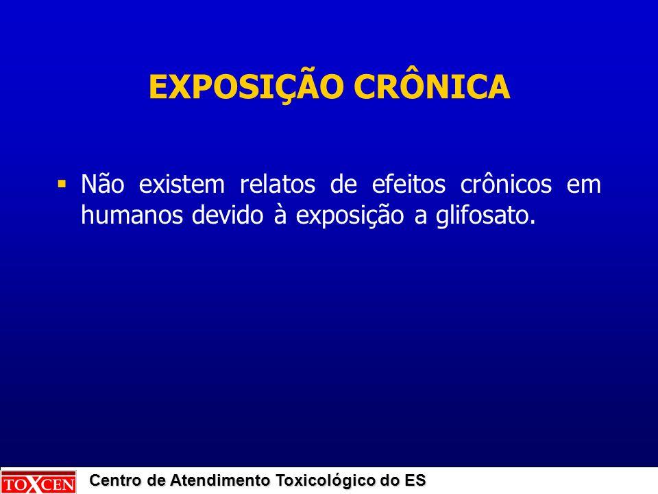 Centro de Atendimento Toxicológico do ES EXPOSIÇÃO CRÔNICA Não existem relatos de efeitos crônicos em humanos devido à exposição a glifosato.