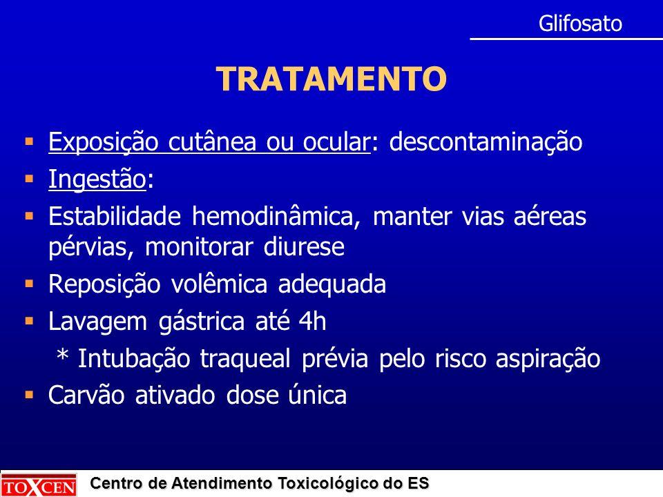 Centro de Atendimento Toxicológico do ES TRATAMENTO Exposição cutânea ou ocular: descontaminação Ingestão: Estabilidade hemodinâmica, manter vias aére
