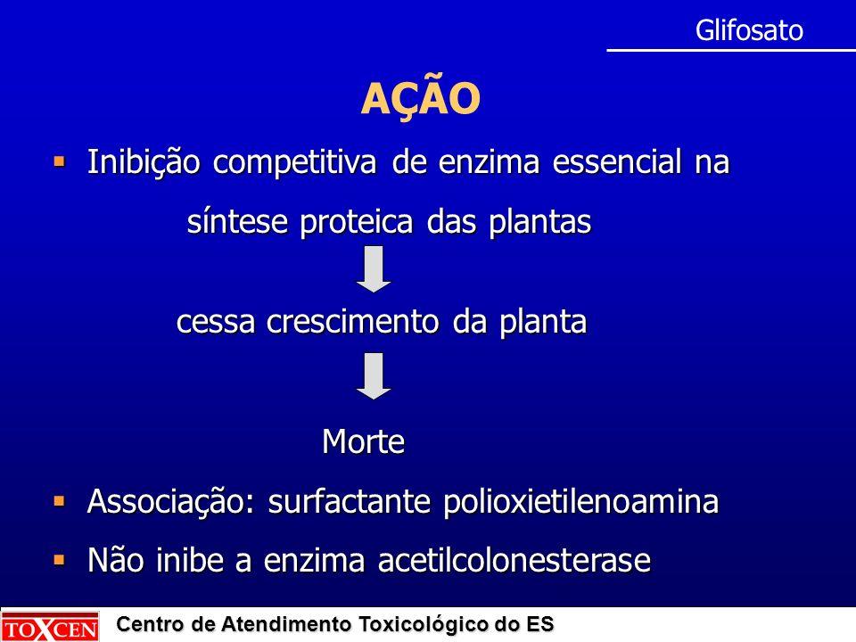 Centro de Atendimento Toxicológico do ES CINÉTICA Absorção: pouco absorvido pelas vias - digestiva (30 a 36%) - inalatória - cutânea Meia-vida: 7 dias Distribuição: ossos (principalmente) Eliminação: fezes (forma intacta) (70%) urina (30%) Glifosato