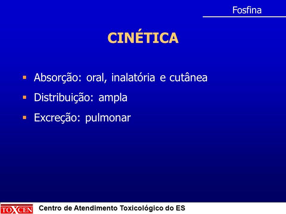 Centro de Atendimento Toxicológico do ES CINÉTICA Fosfina Absorção: oral, inalatória e cutânea Distribuição: ampla Excreção: pulmonar