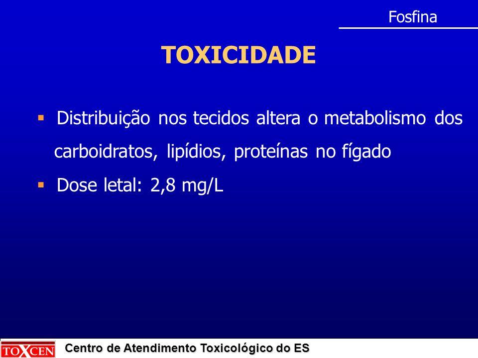 Centro de Atendimento Toxicológico do ES TOXICIDADE Fosfina Distribuição nos tecidos altera o metabolismo dos carboidratos, lipídios, proteínas no fíg