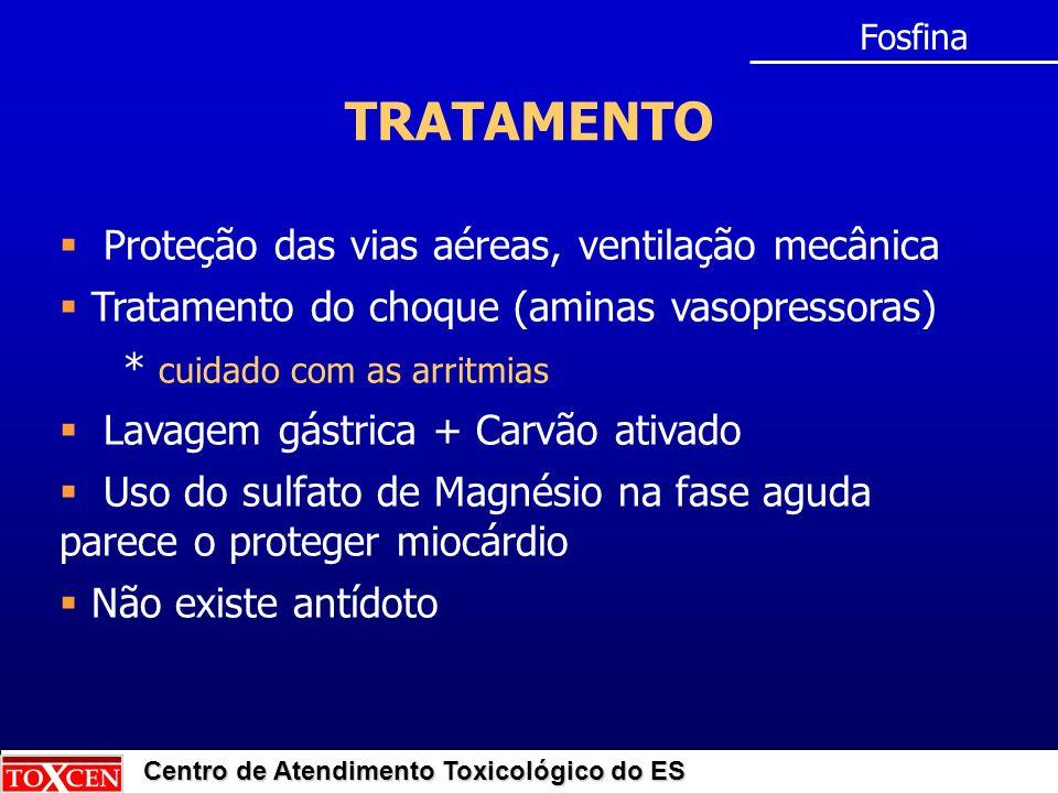 Centro de Atendimento Toxicológico do ES TRATAMENTO Fosfina Proteção das vias aéreas, ventilação mecânica Tratamento do choque (aminas vasopressoras)