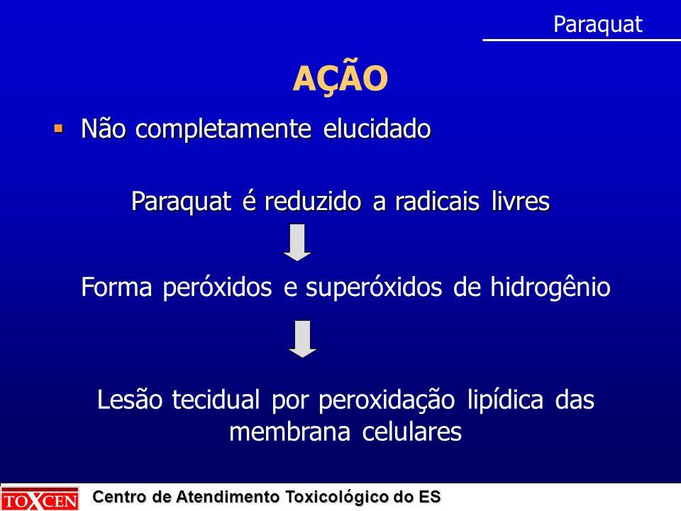 Centro de Atendimento Toxicológico do ES AÇÃO Paraquat Paraquat é reduzido a radicais livres Não completamente elucidado Não completamente elucidado Lesão tecidual por peroxidação lipídica das membrana celulares Forma peróxidos e superóxidos de hidrogênio
