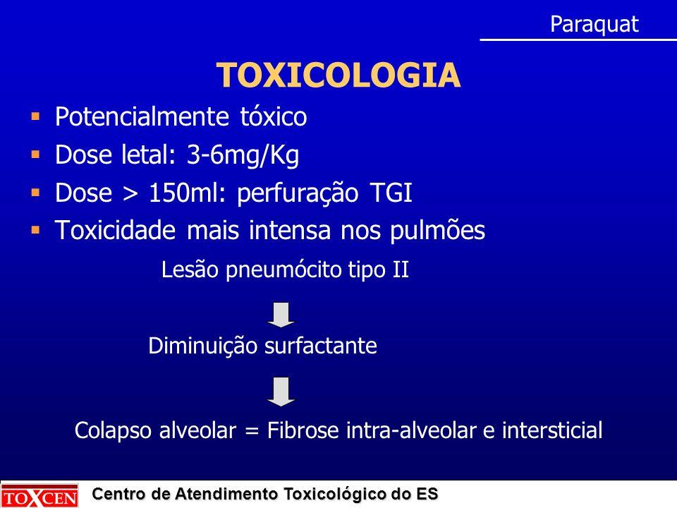 Centro de Atendimento Toxicológico do ES TOXICOLOGIA Potencialmente tóxico Dose letal: 3-6mg/Kg Dose > 150ml: perfuração TGI Toxicidade mais intensa nos pulmões Lesão pneumócito tipo II Paraquat Diminuição surfactante Colapso alveolar = Fibrose intra-alveolar e intersticial