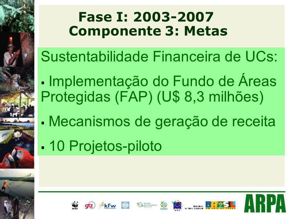 Sustentabilidade Financeira de UCs: Implementação do Fundo de Áreas Protegidas (FAP) (U$ 8,3 milhões) Mecanismos de geração de receita 10 Projetos-piloto Fase I: 2003-2007 Componente 3: Metas