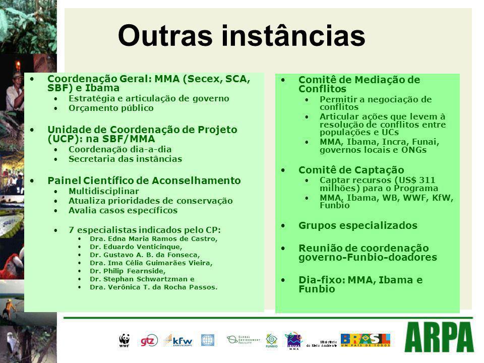 Outras instâncias Coordenação Geral: MMA (Secex, SCA, SBF) e Ibama Estratégia e articulação de governo Orçamento público Unidade de Coordenação de Projeto (UCP): na SBF/MMA Coordenação dia-a-dia Secretaria das instâncias Painel Científico de Aconselhamento Multidisciplinar Atualiza prioridades de conservação Avalia casos específicos 7 especialistas indicados pelo CP: Dra.