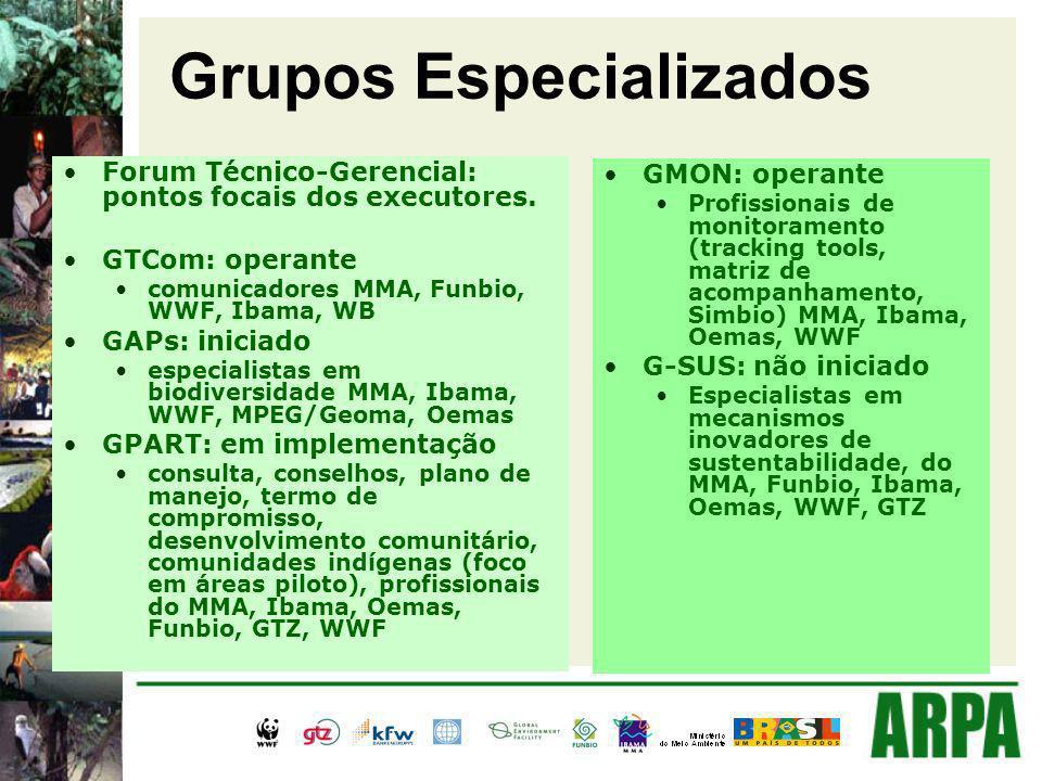 Grupos Especializados Forum Técnico-Gerencial: pontos focais dos executores. GTCom: operante comunicadores MMA, Funbio, WWF, Ibama, WB GAPs: iniciado