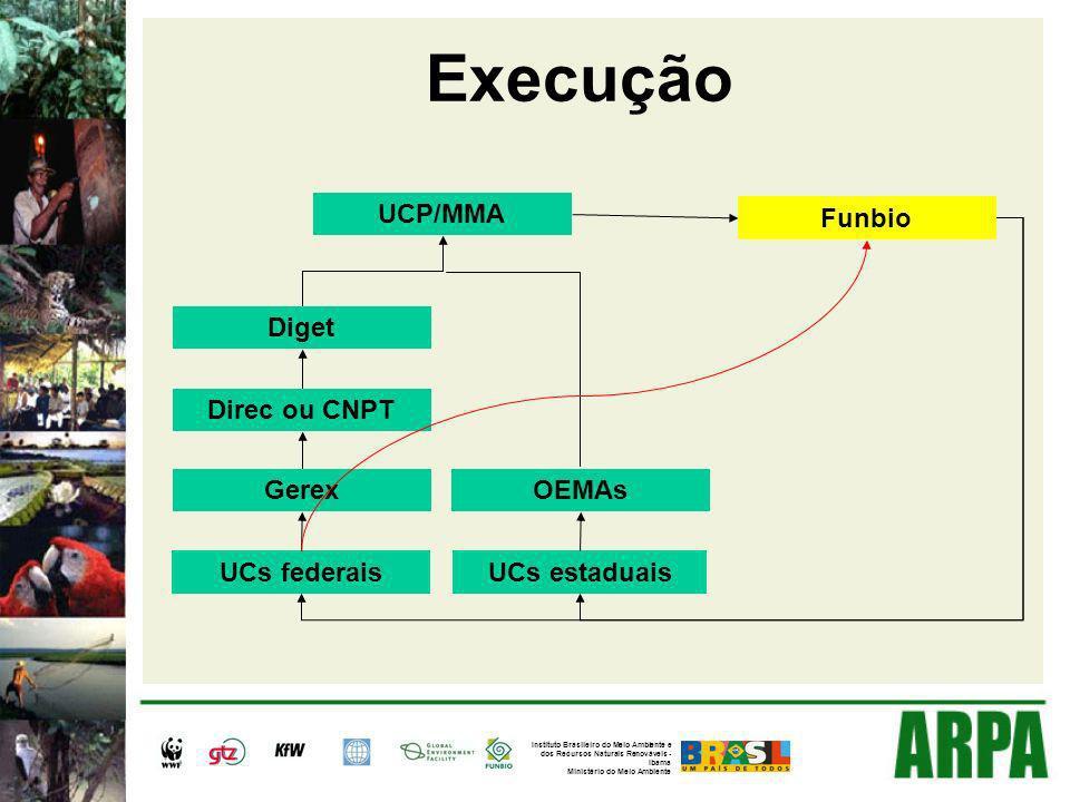 Execução UCs federaisUCs estaduais Gerex Direc ou CNPT Diget UCP/MMA OEMAs Funbio Instituto Brasileiro do Meio Ambiente e dos Recursos Naturais Renováveis - Ibama Ministério do Meio Ambiente