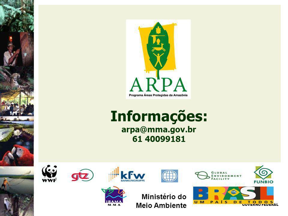 Informações: arpa@mma.gov.br 61 40099181 GOVERNO FEDERAL Ministério do Meio Ambiente