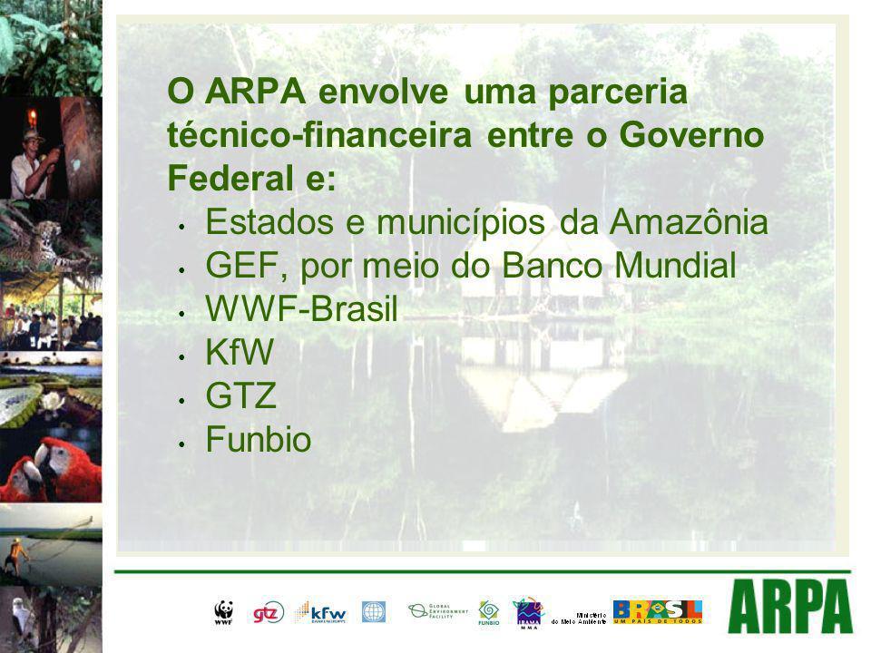 O ARPA envolve uma parceria técnico-financeira entre o Governo Federal e: Estados e municípios da Amazônia GEF, por meio do Banco Mundial WWF-Brasil KfW GTZ Funbio