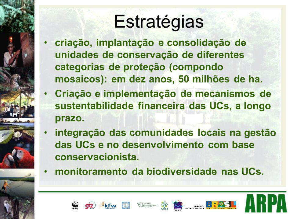 Estratégias criação, implantação e consolidação de unidades de conservação de diferentes categorias de proteção (compondo mosaicos): em dez anos, 50 milhões de ha.