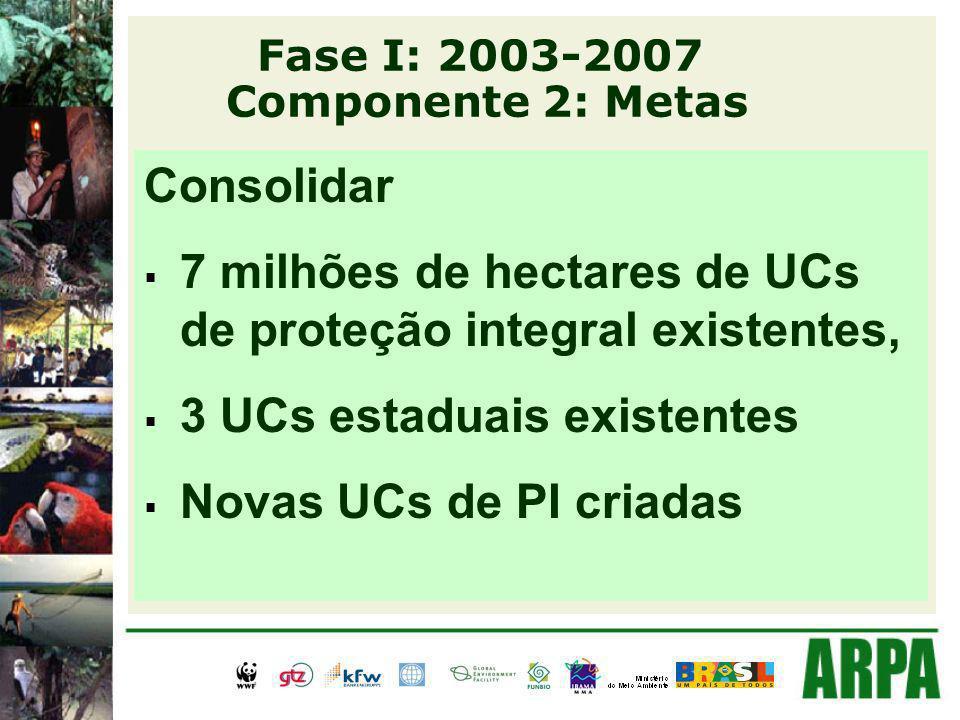 Fase I: 2003-2007 Componente 2: Metas Consolidar 7 milhões de hectares de UCs de proteção integral existentes, 3 UCs estaduais existentes Novas UCs de PI criadas